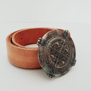 Genuie leather aztec buckle belt